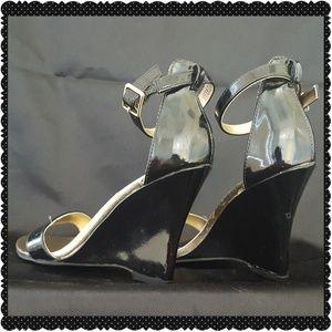 Madden Girl Black Patent Wedge Heels